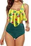 Adisputent Women's Two Piece Swimsuit Flounce Ruffles Swimwear Junior Vintage Bathing Suit High Waisted Bottom Bikini Set (Yellow Flamingo,M)