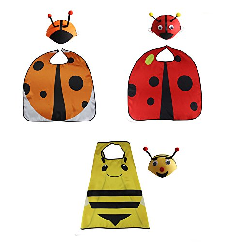 RioRand Comics Cartoon Dress Up Costume Satin Cape with Felt Mask (Ladybug Costumes 3pcs) (Lady Costume Mask)