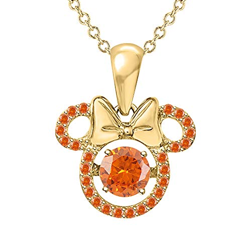 (SVC-JEWELS Mickey Mouse Shape Round Cut Orange Sapphire Pendant Necklace 14K Yellow Gold Plated for Women's & Girl's)
