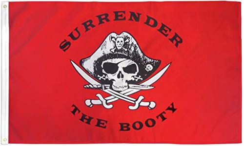 Surrender The Booty (Red) Flag 2x3ft - Pirate Flag Booty