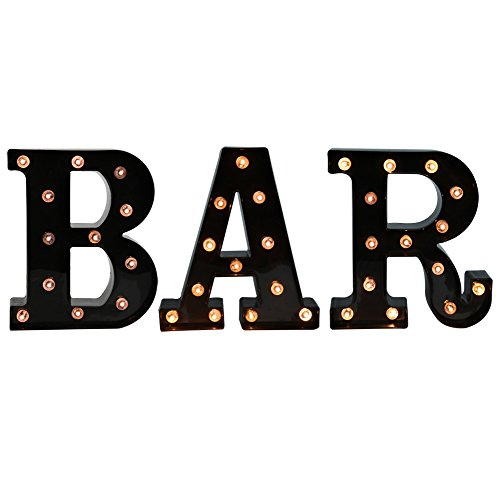 DELICORE BAR - Illuminated Marquee Bar Sign - Lighted LED Marquee Word Sign - Pre-Lit Pub Bar Sign Light Battery Operated (23.03-in x 8.66-in) (Black BAR) -