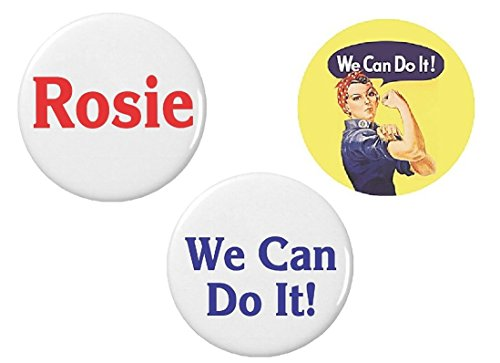 Rosie the Riveter Halloween Costume Accessories Set - Pinback Buttons (Pinback Buttons ONLY)