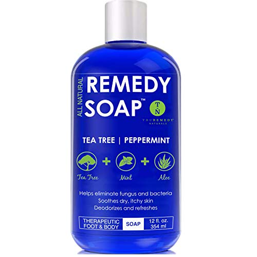 Remedy Antifungal Soap, Helps Wash Away Body Odor, Athlete's Foot, Nail Fungus, Ringworm, Jock Itch, Yeast Infections and Skin Irritations. 100% Natural with Tea Tree Oil, Mint & Aloe 12 oz ()
