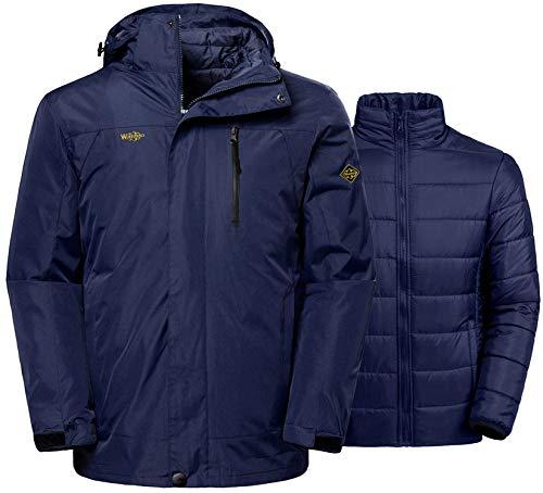 Wantdo Men's 3-in-1 Interchange Jacket Hooded Warm Coat Daily Wear Dark Blue L