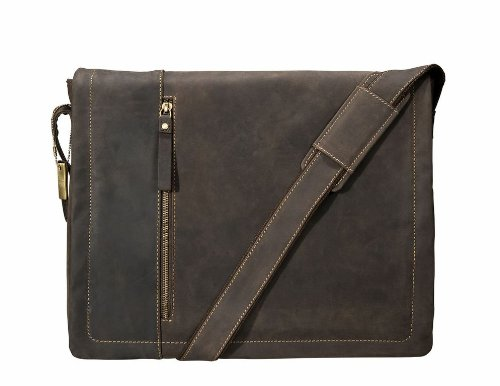 Visconti Messenger Bag with Laptop Sleeve for 15'', Brown, X-Large by Visconti (Image #4)
