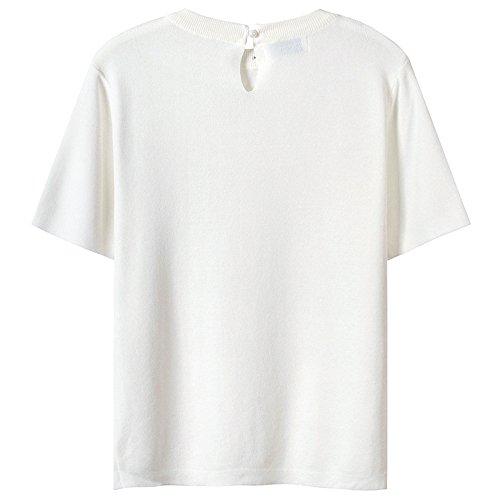 shirt Simple Femme White Polyvalent Design Unie Manches Courtes Élégant Et Xmy T Forme q4twxOwzB