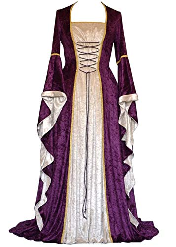YEAXLUD Womens Renaissance Medieval Costume Dress Lace up Irish Over Long Dresses Cosplay Retro Gown S-5XL (L, Purple)]()