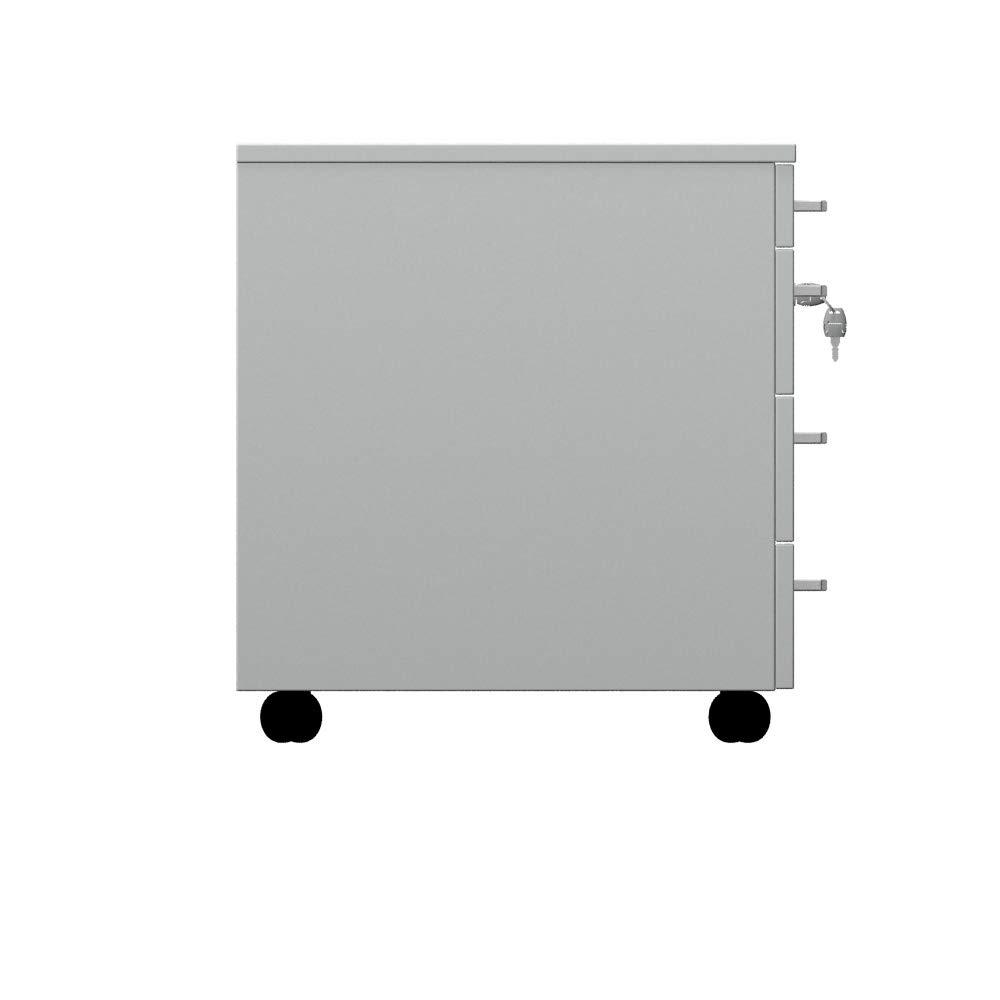 One Living Cassettiera da Ufficio con Rotelle Montaggio Facile L 42 x P 56 x H 61 cm Comodino Mobile con Tre Cassetti Bianco Un Cassetto Portacancelleria Armadietto da Ufficio