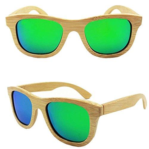 Auténtico sol Madera Anteojos Mano Polarizada Marco Wayfarer Natural Vintage de Bambú a iSunHot UV de de Style Gafas 1 de Protección con Pack en Lente en la Playa para Verde Hombres Mujeres Hechos xwqxFIn7R