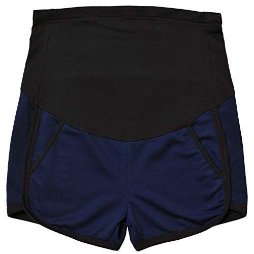Maternity Shorts Summer Workout Relaxed Fit Stretchy Full Panel Short Pants Dark Blue XL