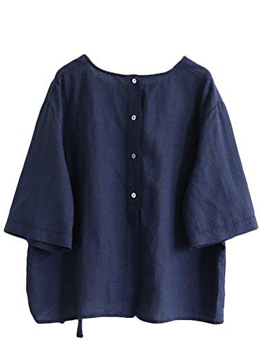 T Femmes Chic Casual Tops Mallimoda Simple Blouses Chemisier Shirt Marin Bleu Lin Uni ZU8wxwq5