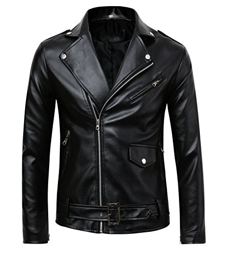 | Men's Classic Police Style Faux Leather Motorcycle Jacket (L)