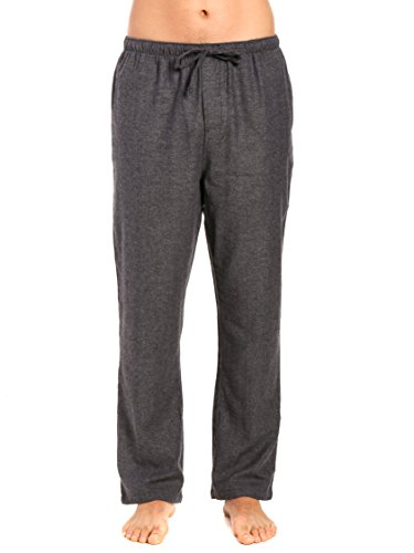 Grey Flannel Pant (Noble Mount Men's 100% Cotton Flannel Lounge Pant - Herringbone Charcoal - Large)
