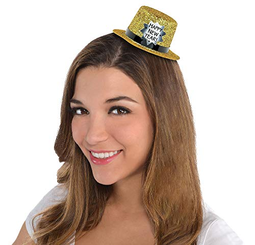 Year Hat Happy New Top (Amscan Happy New Year Glitter Plastic Mini Top Hat | Party Accessory)