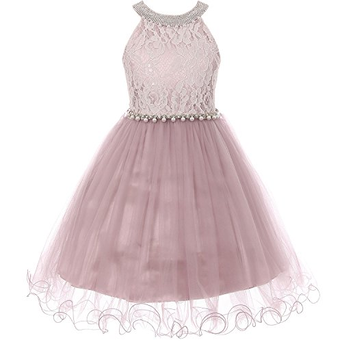 Pearl Rose Dusty (Big Girls Rhinestones Simulated Pearls Halter-Neck Lace Bodice Tulle Wired Skirt Dress Dusty Rose - Size 16)