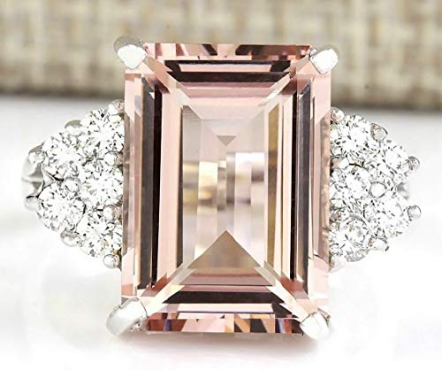 Tomikko 925 Silver Men Women Morganite Gemstone Ring Vintage Wedding Jewelry 6-10 | Model RNG - 13226 | 9