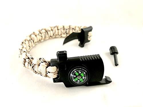 Silver Cardinal Paracod Bracelet with Survival Knife, Wrist Compass, Fire Starter Flint, Emergency Whistle| Survival Bracelet Kit| Tactical Bracelet for Men and Women (Desert ()