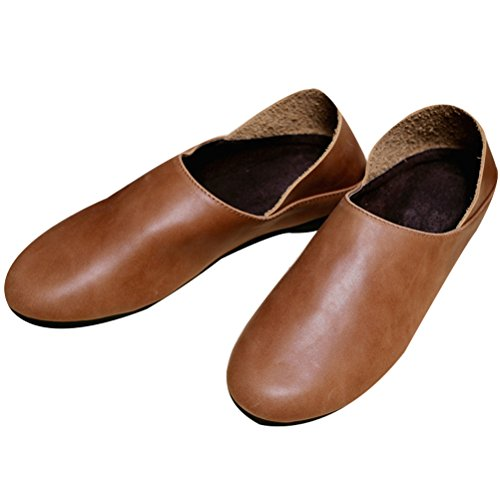 Vogstyle Femme slip-on cuir chaussures plates Style 2 Brun tY2ry9