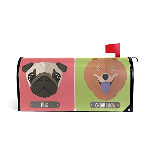 HEOEH Cute Dog Head Pug Chow Beagle Yorkshire Terrier Magnetic Mailbox Cover Home Garden Decorations Standard Size 20.7 x 18.0 -
