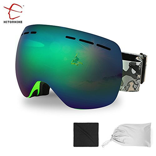HITORHIKE Ski Goggles Professional Men Women Snow Snowboard eyeware (Green--Lens VLT - Sunglasses Dirty Polarized Dog