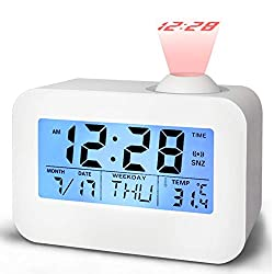 Alarm Clocks for Bedrooms, DANGSHAN Cool Digital Snooze Projection Alarm Clock with 3.5 LED Display, Cube Office Desk Alarm Clock, Smart Back light, Hourly Chime