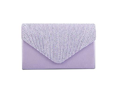 Nodykka Women Evening Envelope Rhinestone Frosted Handbag Party Bridal Clutch Purse,One Size,Light Purple