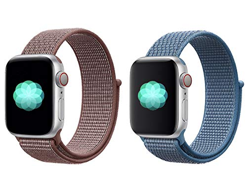 (ECHOOSE Watch Band Compatible with iWatch 38mm 40mm Series 4/3/2/1, (2 Pack) Soft Comfortable Nylon Sport Loop Replacement Strap for Women Men (Reflective Smokey Mauve+Cape Cod Blue))