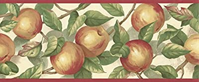 Wallpaper Border Country Jonathan Yellow & Red Apples & Green Leaves