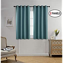 Miuco Blackout Curtains Room Darkening Curtains Textured Grommet Curtains Window Treatment 2 Panels 52x63 Inch Long Teal