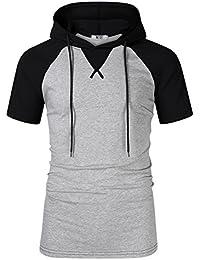 Men's Casual Slim Fit Short Sleeve Lightweight Raglan Pullover Hoodie Shirt