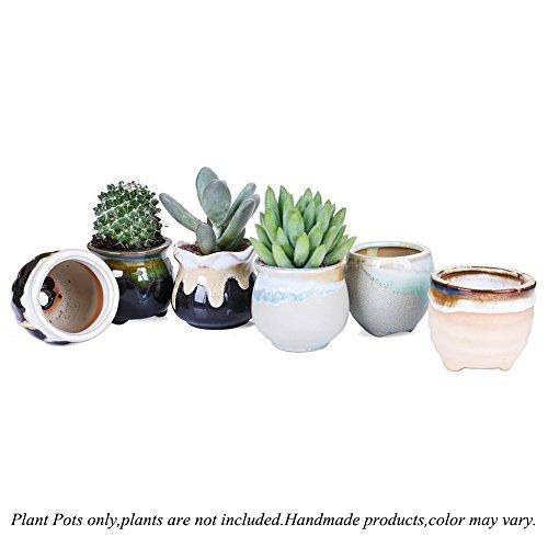 2.5 Inch Ceramic Planters,Flowing Glaze Succulent Planters Cactus Flower Plant Pot/Container Mini Succulent Plant Pots Black White Base Serial 6pcs in Set by Jomass (Image #3)