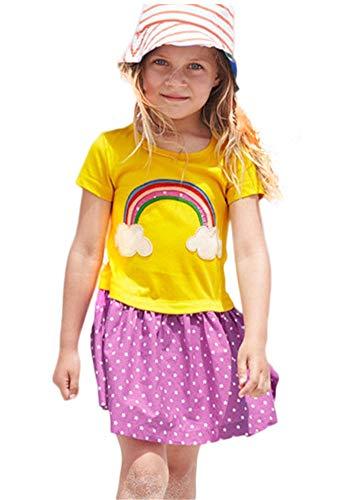 Kids Girl Surf Rainbow Cloud Little Star Patchwork Casual Cotton A-Line Skirt Dress Yellow