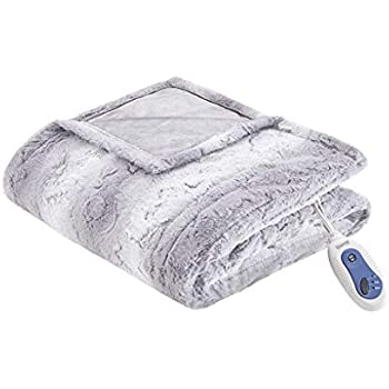Beautyrest Zuri Ultra Soft Faux Fur Reverse to Mink Auto Shut Off Electric Blanket Throw Oversize with 3 Heat Level Setting Controller, 50x70, Grey Tip Dye
