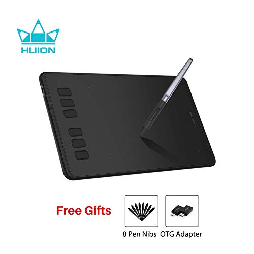 HUION Inspiroy H640P 2019 Upgrade (OTG Version) Graphic Drawing Tablet, 8192 Levels Pressure Battery-Free, 6 Customized Express Keys, Compatible with Windows & Mac, Artist, Designer, Amateur