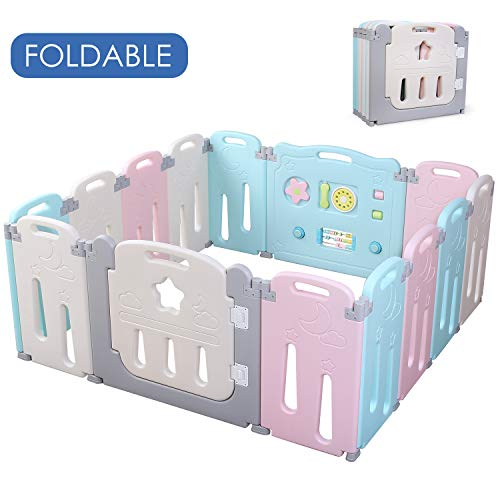 POTBY Foldable Baby Playpen 14 Panel Activity Center Safety Playard with Lock Door,Kid s Fence Indoor Outdoor,Free Installation,Double Layer Clasp and Anti-Slip Base for Children 10 months 6 Years Old