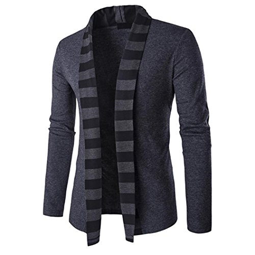 Cardigan Sweater,Han Shi Men's Autumn Winter Patchwork Knitwear Cotton Coat Jacket Shirt (Dark Gray, L)