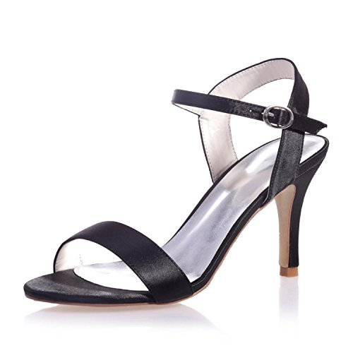 Women's amp; YC 03 Evening Peep Satin amp; Wedding Wedding L Night 9920 Patent Platform Party Black Toe Sandals vUtwnqd