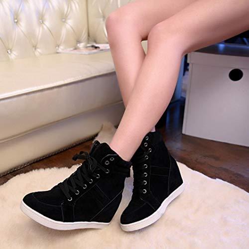 Botas clásicos de otoño Botines Invierno Martain Cordones de de Mujer Zapatos Negro de con Plano QinMM Sneakers rr8wqF