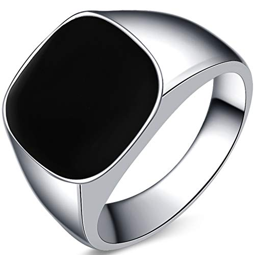 Kingray Jewelry Stainless Steel Classic Simple Plain Black Enamel Signet Pinky Ring Size 4-16 (Silver Black, ()