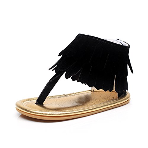 HONGTEYA Baby Girls Stylish PU Leather With Tassel Rubber Sole Summer Baby Sandals Dress Shoes (18-24M, Suede Black)