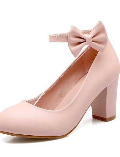 GGX/Damen Schuhe PU Sommer/Herbst Heels/Schuhe Heels Office & Karriere/Casual geschoben Ferse Schleife Blau/Pink/Beige pink-us9.5-10 / eu41 / uk7.5-8 / cn42