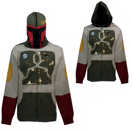 Star Wars Mens Boba Fett Costume Zipped Hoodie, XXL