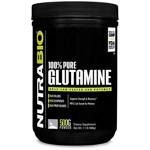 NutraBio 100% Pure L-Glutamine Powder - 500 Grams by NutraBio