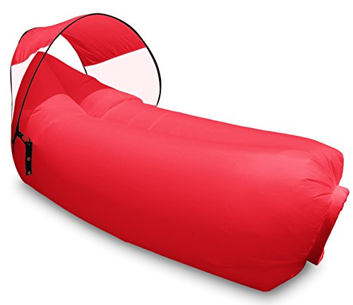 Lounger Mission (Harvestores Inflatable Air Lounger Sofa Bean Bag Hammock with Shade (Apple Red))
