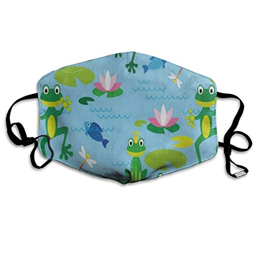 Dust Mask Ute Frog Fish Water Lily Face Mask Fashion Anti-dust Reusable Cotton Comfy Breathable Safety Mouth Cover Masks for Women Man Running Cycling Outdoor