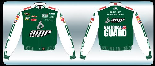 Dale Earnhardt Jr #88 Green & White Driver Uniform Style AMP National Guard Mountain Dew Hendrick Motorsports Delphi Quaker State Goodyear Embroidered Logo Jacket JH J&H Brand Cotton Twill Size XXL 2XL