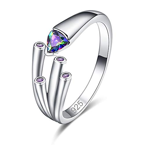 Mavonne 925 Sterling Silver Created Rainbow Topaz Filled Trillion Cut Contemporary Branch Anniversary Ring for Women 0223R2-9 (Color : Rainbow, Size : 8)