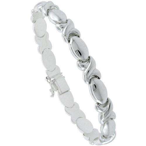 Polished Stampato Necklace - Sterling Silver Stampato 8 in. XOXO Link Hugs & Kisses Bracelet , 9/32 in. (7.5mm) wide