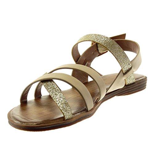Cruzadas Sandalias De Mujer Brillante Cm Correas Zapatillas Tobillo Moda Tanga 1 Ancho 5 Angkorly Beige Tacón Correa qCw1B8