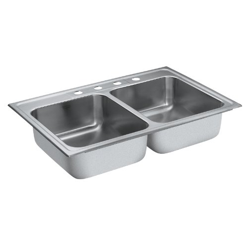 Moen 22213 Camelot 4 Hole Stainless Steel 20 Gauge Double Bowl Drop In Sink, Stainless - smallkitchenideas.us